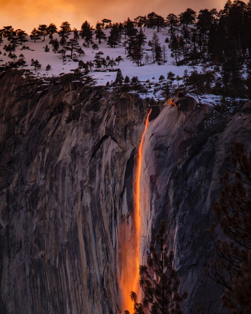 Nicely lit waterfall in the sunset that seems like lava